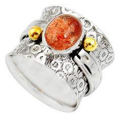 Clearance Sale- 2.90cts victorian natural orange sunstone silver two tone ring size 6.5 d35351