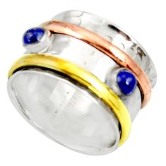 925 silver victorian natural lapis lazuli two tone spinner ring size 7.5 d35352