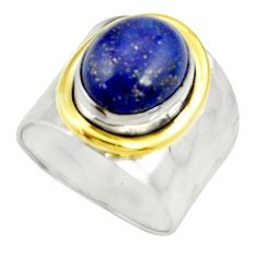 Clearance Sale- 5.23cts victorian natural lapis lazuli 925 silver two tone ring size 7.5 d35354