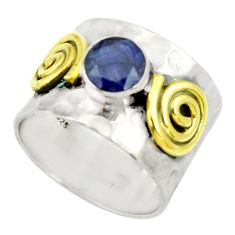 Clearance Sale- 2.54cts victorian natural blue sapphire 925 silver two tone ring size 7.5 d35355