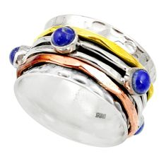 Victorian natural lapis lazuli 925 silver two tone spinner ring size 8.5 d35357