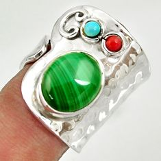 925 silver 5.81cts natural green malachite adjustable ring size 6.5 d35372