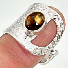 3.41cts natural tiger's hawks eye 925 silver adjustable ring size 7 d35374