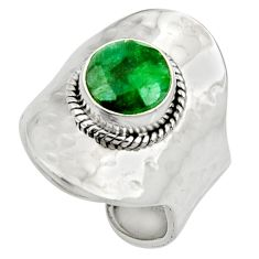 5.12cts natural green emerald round 925 silver adjustable ring size 8.5 d35383