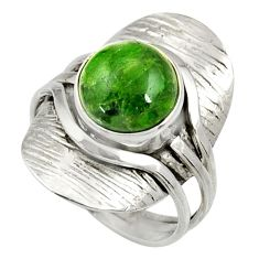 Clearance Sale- 5.51cts natural green chrome diopside 925 silver solitaire ring size 8 d35386