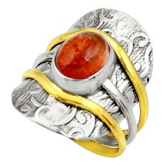 Clearance Sale- 4.07cts victorian natural orange sunstone 925 silver two tone ring size 8 d35390