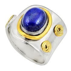 Clearance Sale- Victorian natural lapis lazuli silver two tone adjustable ring size 8.5 d35399