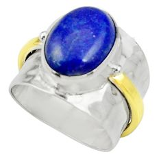 Clearance Sale- Victorian natural lapis lazuli silver two tone solitaire ring size 7.5 d35410