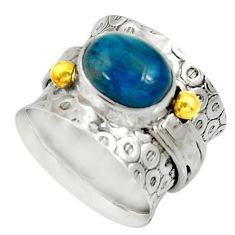 Clearance Sale- 4.18cts victorian natural blue apatite 925 silver two tone ring size 6.5 d35415