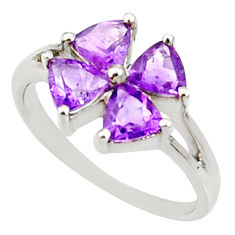 Clearance Sale- 4.05cts natural purple amethyst 925 sterling silver ring jewelry size 5.5 d35423