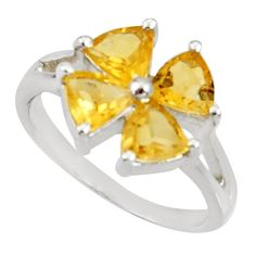 Clearance Sale- 4.21cts natural yellow citrine 925 sterling silver ring jewelry size 5.5 d35432