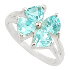 Clearance Sale- 925 sterling silver 3.93cts natural blue topaz ring jewelry size 5.5 d35434