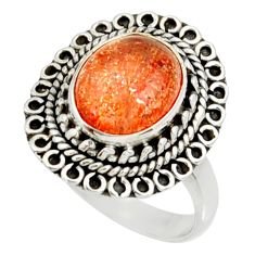 Clearance Sale- 5.31cts natural orange sunstone 925 silver solitaire ring size 8.5 d35441
