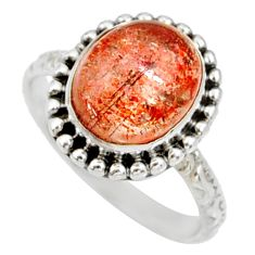 Clearance Sale- 5.11cts natural orange sunstone oval 925 silver solitaire ring size 7 d35445