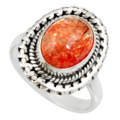 Clearance Sale- 5.08cts natural orange sunstone 925 silver solitaire ring size 7.5 d35446