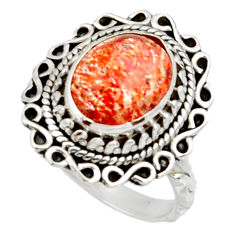 Clearance Sale- 5.52cts natural orange sunstone 925 silver solitaire ring size 7 d35447