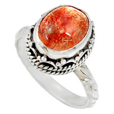 Clearance Sale- 925 silver 5.52cts natural orange sunstone oval solitaire ring size 7.5 d35448