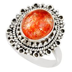 Clearance Sale- 5.52cts natural orange sunstone 925 silver solitaire ring size 8 d35449