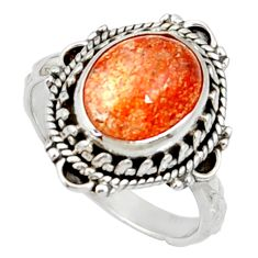 Clearance Sale- 925 silver 5.14cts natural orange sunstone oval solitaire ring size 7 d35450