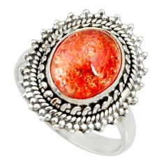 Clearance Sale- 5.52cts natural orange sunstone 925 silver solitaire ring size 8 d35451
