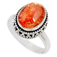 Clearance Sale- 925 silver 5.27cts natural orange sunstone oval solitaire ring size 7.5 d35452