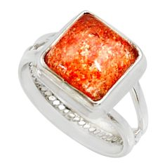 Clearance Sale- 5.52cts natural orange sunstone 925 silver solitaire ring size 7 d35454