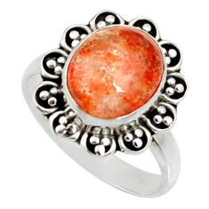 Clearance Sale- 925 silver 5.08cts natural orange sunstone oval solitaire ring size 7.5 d35455