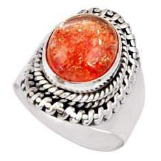 Clearance Sale- 925 silver 5.30cts natural orange sunstone oval solitaire ring size 7 d35456