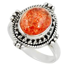 Clearance Sale- 5.09cts natural orange sunstone 925 silver solitaire ring size 7 d35457