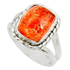 Clearance Sale- 5.74cts natural orange sunstone 925 silver solitaire ring size 6 d35458