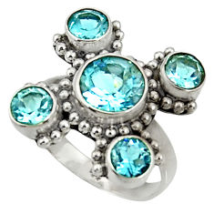 Clearance Sale- 6.48cts natural blue topaz 925 sterling silver ring jewelry size 7.5 d35461
