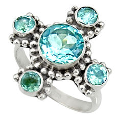 5.53cts natural blue topaz 925 sterling silver ring jewelry size 7.5 d35462