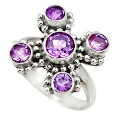 Clearance Sale- 925 sterling silver 4.93cts natural purple amethyst round ring size 8 d35466