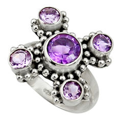 Clearance Sale- 5.84cts natural purple amethyst 925 sterling silver ring jewelry size 6 d35467