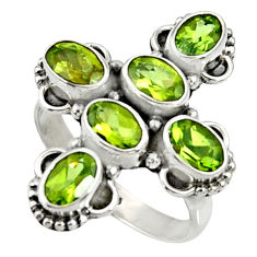Clearance Sale- 5.87cts natural green peridot 925 sterling silver ring jewelry size 7.5 d35470