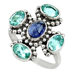 Clearance Sale- 5.11cts natural blue tanzanite topaz 925 sterling silver ring size 8 d35473
