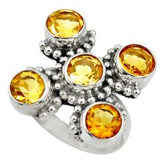 Clearance Sale- 6.33cts natural yellow citrine 925 sterling silver ring jewelry size 6.5 d35475