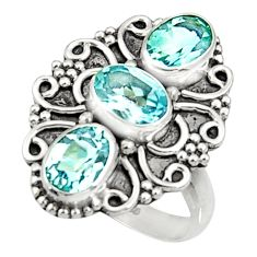 925 sterling silver 4.92cts natural blue topaz oval ring jewelry size 7 d35480