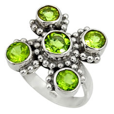 Clearance Sale- 6.58cts natural green peridot 925 sterling silver ring jewelry size 7 d35485