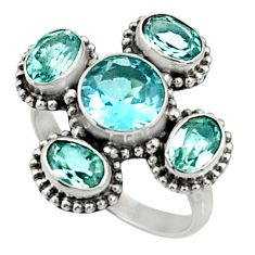 Clearance Sale- 925 sterling silver 6.54cts natural blue topaz ring jewelry size 7 d35492