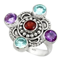 Clearance Sale- 925 sterling silver 5.08cts natural red garnet amethyst topaz ring size 7 d35495