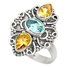 4.70cts natural blue topaz citrine 925 sterling silver ring size 7 d35496