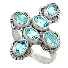 Clearance Sale- 925 sterling silver 6.04cts natural blue topaz oval ring jewelry size 8 d35498