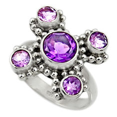 Clearance Sale- 6.04cts natural purple amethyst 925 sterling silver ring jewelry size 7.5 d35510
