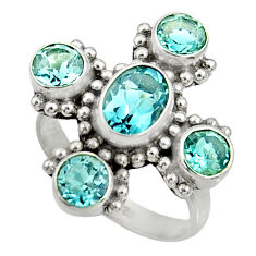 Clearance Sale- 925 sterling silver 6.26cts natural blue topaz ring jewelry size 7.5 d35511
