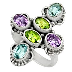 Clearance Sale- 925 silver 6.54cts natural green peridot amethyst topaz ring size 7 d35512