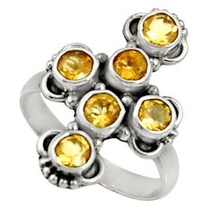 Clearance Sale- 3.83cts natural citrine 925 sterling silver ring jewelry size 7 d35513