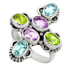 Clearance Sale- 925 silver 6.54cts natural purple amethyst peridot topaz ring size 6.5 d35514