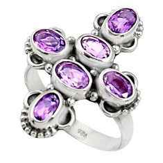 Clearance Sale- 7.04cts natural purple amethyst 925 sterling silver ring jewelry size 8 d35515