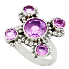 Clearance Sale- 6.03cts natural purple amethyst 925 sterling silver ring jewelry size 7 d35521
